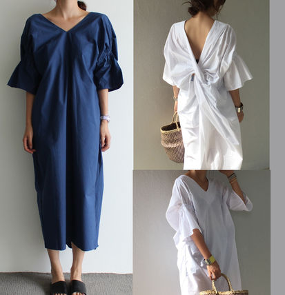 Nice back draped cotton flare Maxi dress
