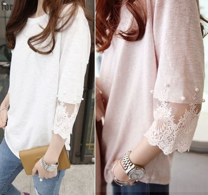 embroidered lace, Pearl point and sleeve shirt