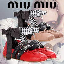 MIU MIU Buckle-Embellished Leather Ballerinas