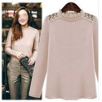 Lace Shoulder Pearl Topトップス
