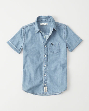 Abercrombie & Fitch トップス  新作  アバクロ・キッズ ボーイズ★ short sleeve denim shirt