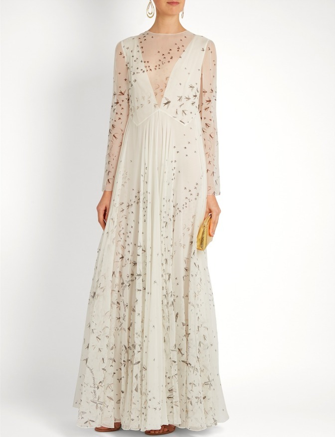 17SS V684 LOOK52 SWALLOW PRINTED SILK CHIFFON GOWN