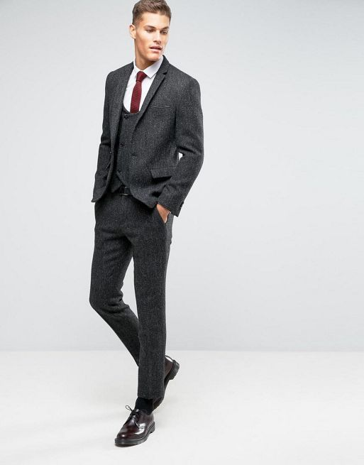 新生活☆ASOS  Slim Suit in Grey Harris Twee フォーマルスーツ