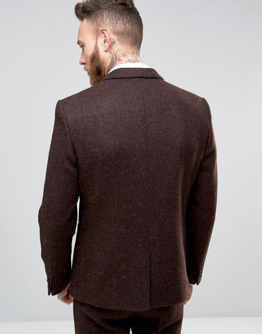新生活☆ASOS  Slim Suit Jacket In Brown Har フォーマルスーツ