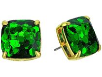 Small Square Studs Emerald Glitter▽送料関税込