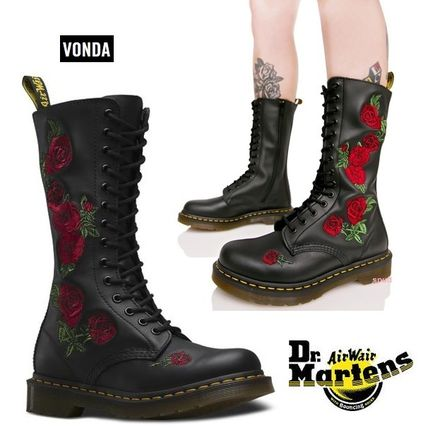 popular Dr. Martens VONDA rose embroidered lace up boot