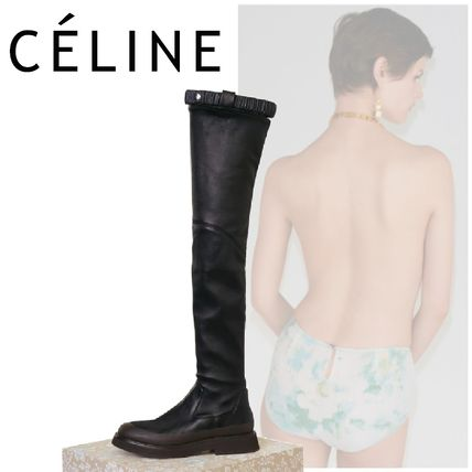 2017 SS CELINE country stretch thigh boots black,
