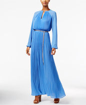 Michael Kors Pleated Belted Maxi Dress