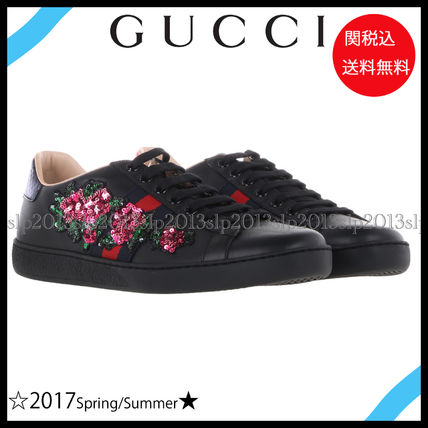 17 New ♦ GUCCI ♦ popular flower decoration lausneaker Black