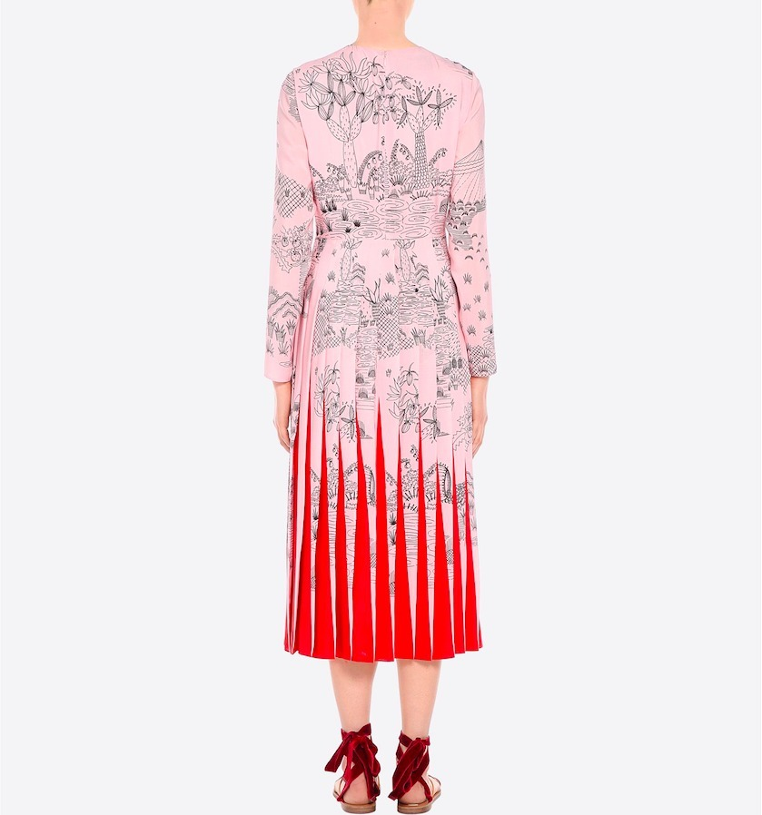 17SS V702 LOOK8 PLEATED MIDI DRESS IN PRINTED SILK CREPE