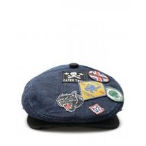 D SQUARED2(ディースクエアード) ハンチング・キャスケット ☆国内発☆D SQUARED2/DENIM FLAT CAP WITH PATCHES