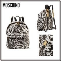 【SALE】*Moschino*プリントレザーバックパック★関税・送料込★