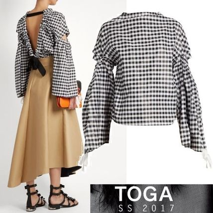 TOGA gingham open back top