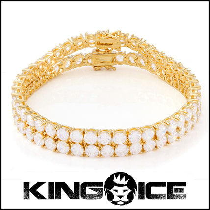 """King Ice"" 5mm 14K Gold Dual Single Row Pharaoh ブレスレット"