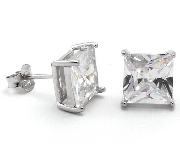 新作★King Ice★Hand Set Rhodium Princess CZ Stud Earrings