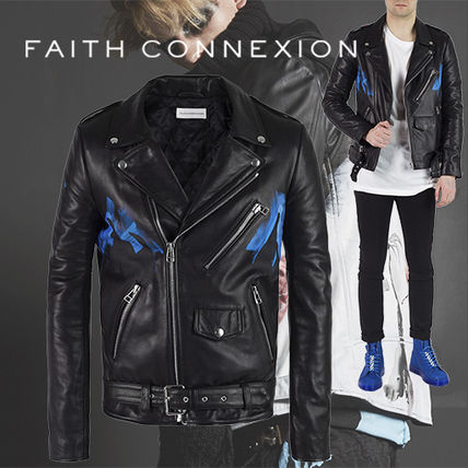 FAITH CONNEXION Handpainted Black Leather jacket