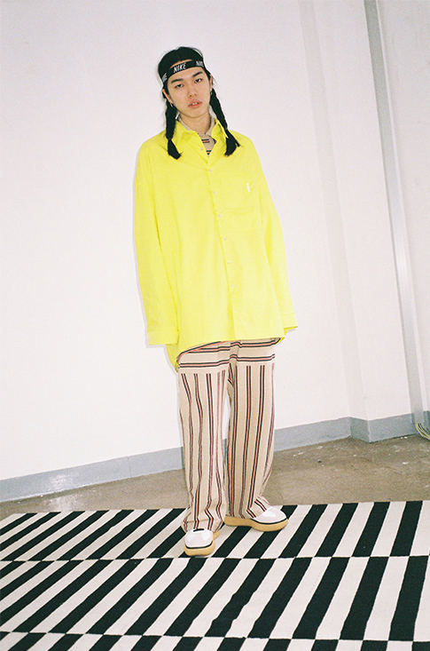 ★AJO AJOBYAJO★17ss Over Solid Two Pocket シャツ (Yellow)