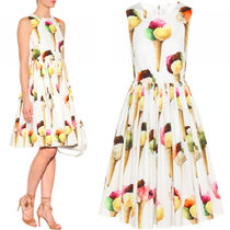 17SS DG953 ICE-CREAM PRINTED SLEEVELESS MIDI DRESS