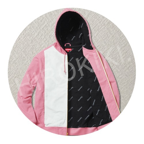 【17SS】S-XLサイズ★Supreme 2-Tone Hooded Work Jacket ピンク