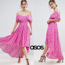 ★最短翌日発送★ASOS SALON Cross Bardot Lace Dip Midi Dress