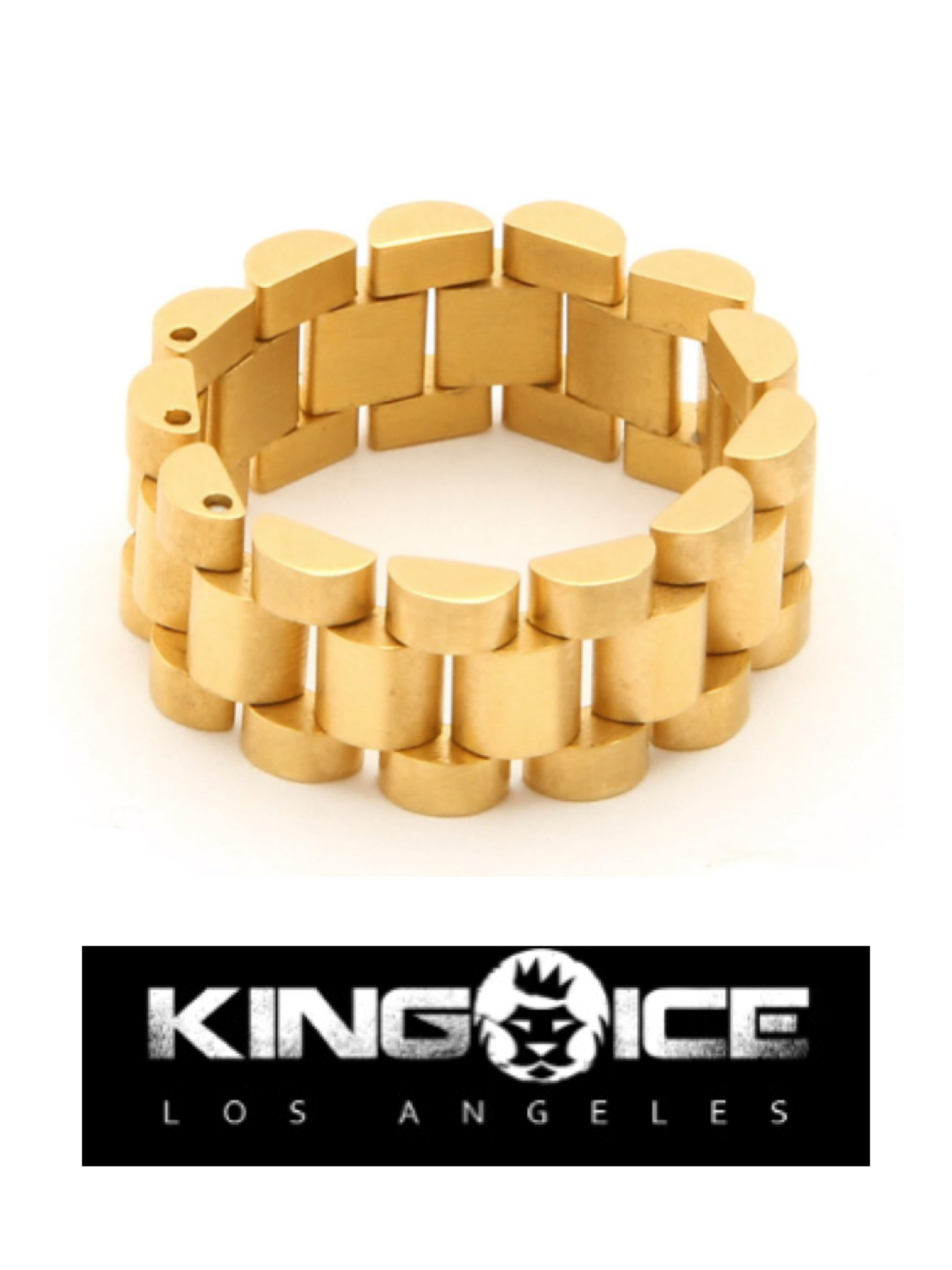 新作★King Ice★Men's 14K Gold Rolex Link Ring