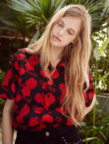 [13MONTH]17ss flower printing aloha shirts(red)
