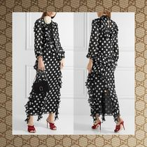 ☆17RESORT☆ GUCCI Ruffled printed silk-charmeuse gown