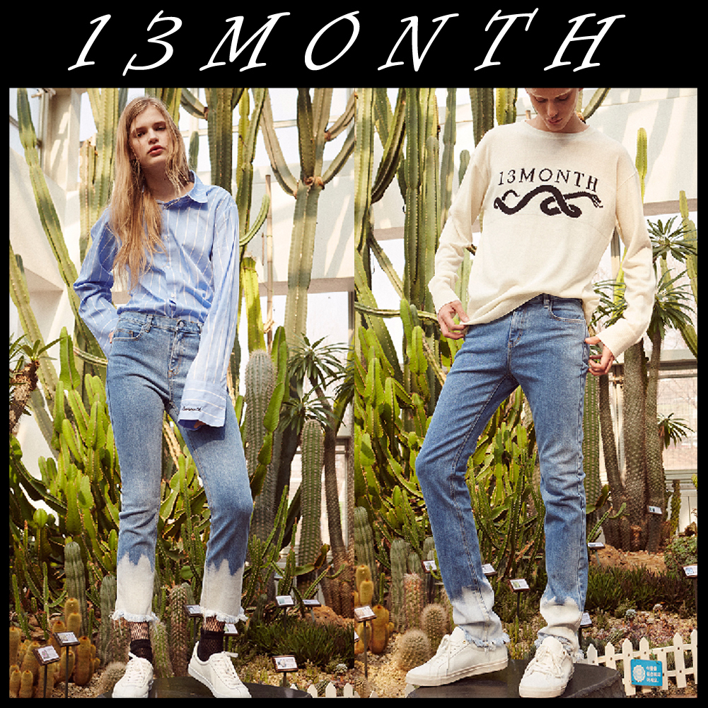 送料無料★13MONTH★17ss bleached hem denim pants