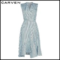 CARVEN(カルヴェン)★Striped Silk Midi Dress★