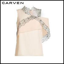 CARVEN(カルヴェン)★Crepe Top with Lace Hem★