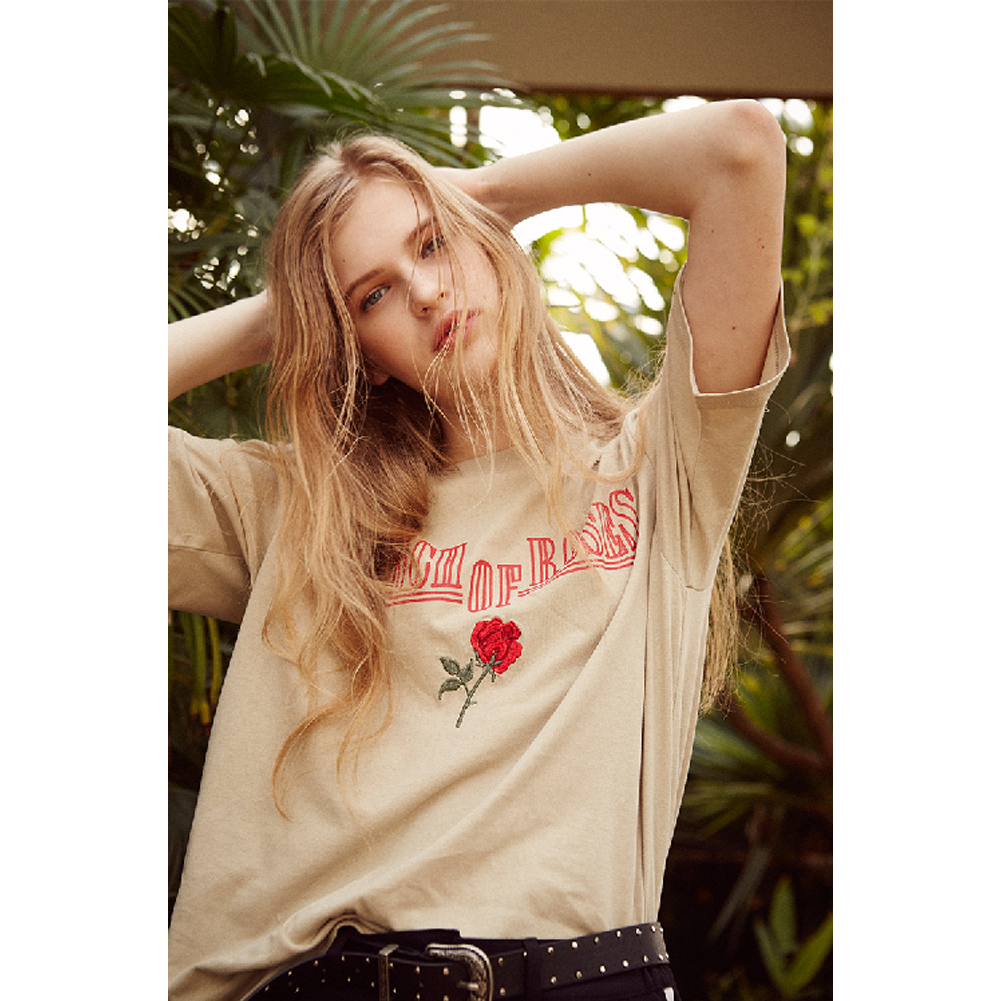 送料無料★13MONTH 17ss bunch of roses embroidery t-shirts2色