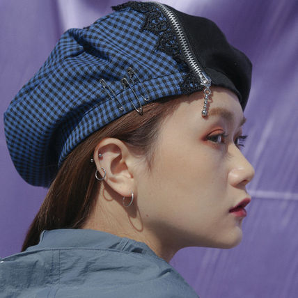 (Oct.3) ☆Zipper Check & Metal Beret [Black]