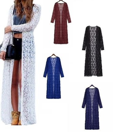 * lace embroidered Maxi-length Tessa's cardigan