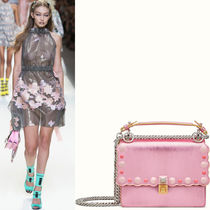 FE1411 LOOK48 STUDDED SMALL 'KAN I' BAG WITH WAVY EDGE