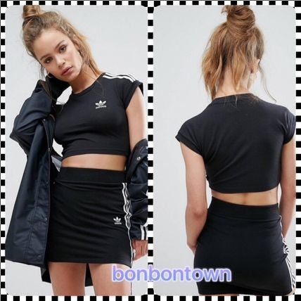 / adidas Black Three Stripe Cropped Top