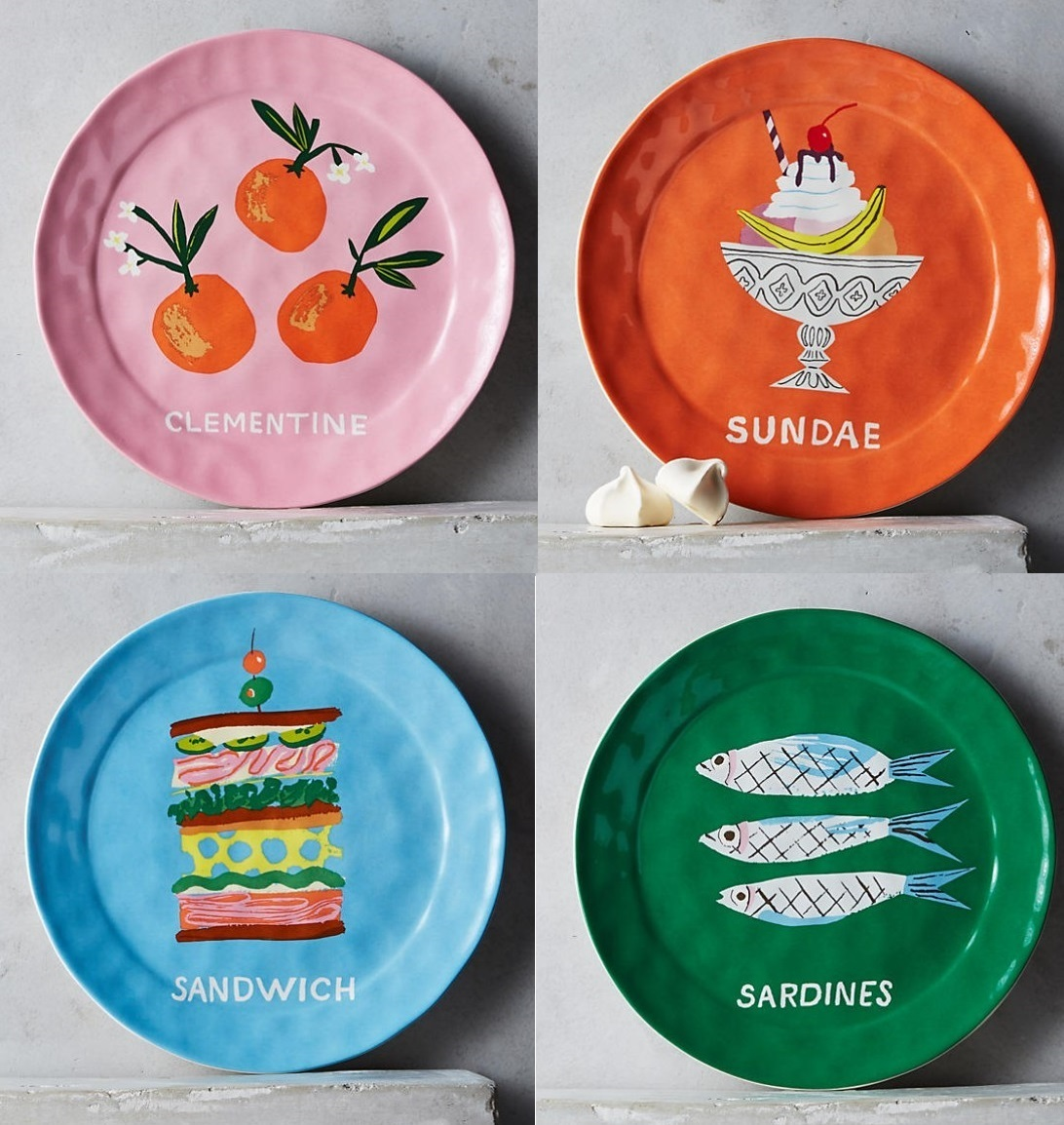 Anthropologie☆Pictoral Dessert Plate お皿4枚セット 国内発送