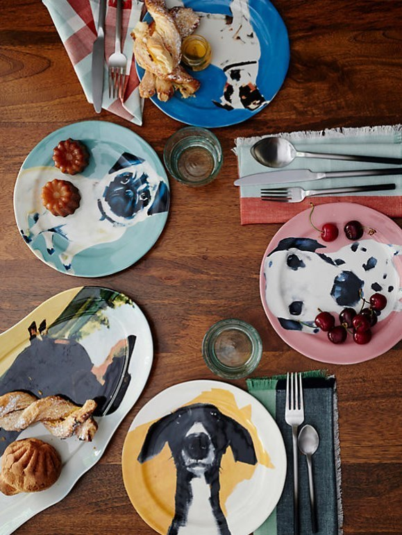 Anthropologie☆Dog-a-Day Dessert Plateお皿4枚セット 国内発送