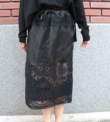 SACAI Sakai lace embroidered skirt BLACK 2017 SS
