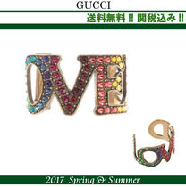 2017SS関税込★GUCCI(グッチ)Loved cuff bracelet with crystals