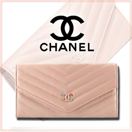 A CUTE 17 spring summer CHANEL design long wallet beige