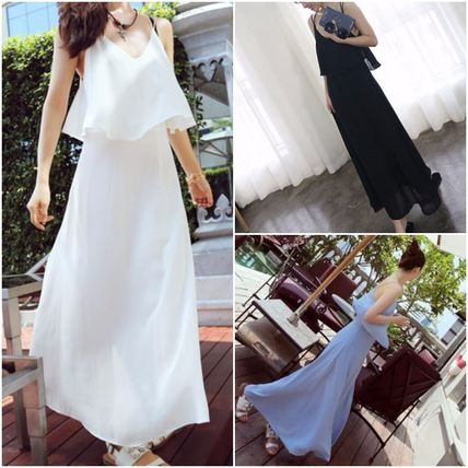 Cross strap chiffon long dress