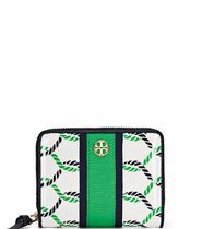 Tory Burch☆PRINTED PATENT ZIP COIN WALLETロープ折りたたみ