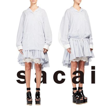 SACAI ruffle skirt striped pajama style dress
