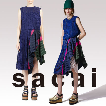 SACAI striped pleated polka dot lace dress