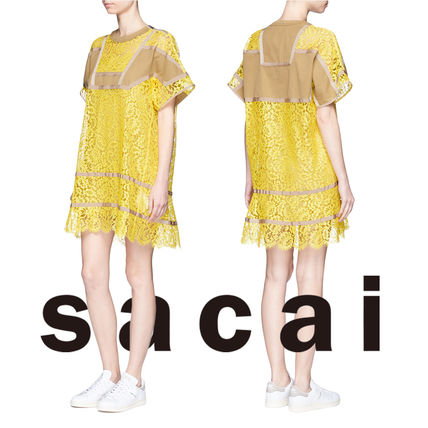 SACAI Twill pattern floral lace dress / yellow