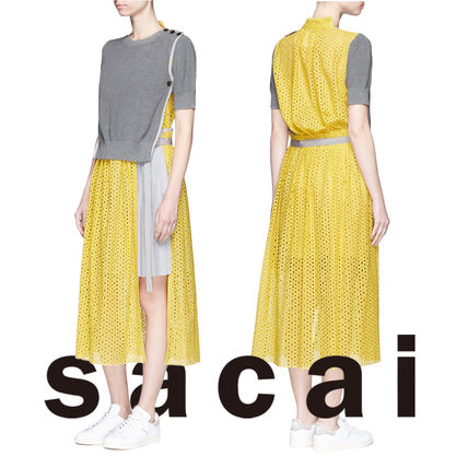 SACAI overlay sweater and pleated dress