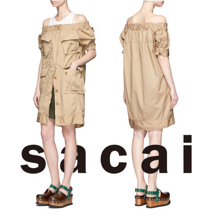 SACAI patch pocket off shoulder dresses / khaki