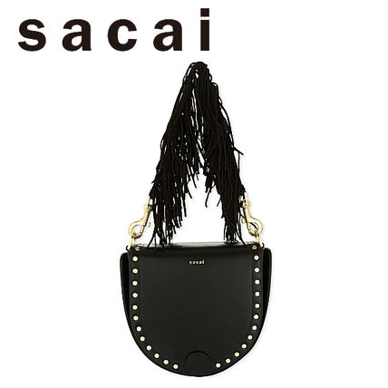 SACAI Sakai Horseshoe leather Tassel 2way bag black