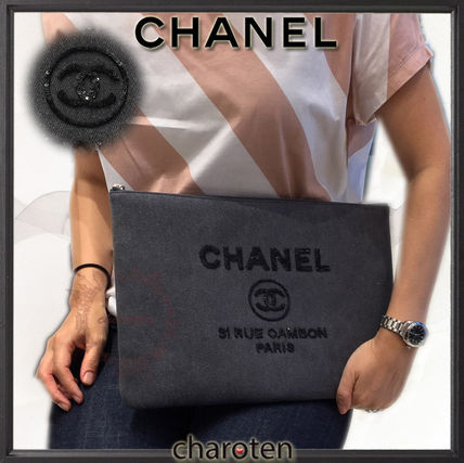 CHANEL クラッチバッグ 【関税補償・追跡付】最新/限定☆争奪戦Deauvilleでかクラッチ