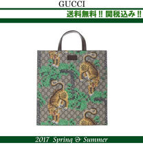 2017SS関税込★GUCCI,BengalプリントGG Supremeトートバッグ